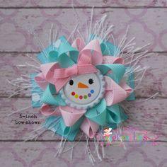 Glam Pastel Girly Snowman Loopy Flower Hair Bow CUTENESS!!!!!!!!!!!!!!!!