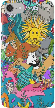 Animal Kingdom iPhone case drawn by Henna by Hilary.     This bright and colorful design will make a great gift for anyone! Mugs, cases, bedspreads, pillows, bags, and much more via Redbubble.