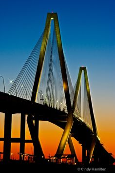 Ravenel Bridge, Charleston, SC - voted one of the world's most beautiful bridges in the world by CNN. Because I can't resist Charleston, and because I will always love this bridge. Great Places, Oh The Places You'll Go, Places To Travel, Beautiful Places, Places To Visit, Beautiful Pictures, Charleston Sc, Nebraska, Oklahoma