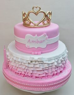 Lovely ombre ruffle cake at a Princess birthday party!  See more party ideas at CatchMyParty.com!