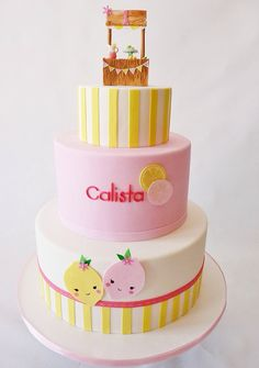 Pretty pink lemonade stand themed cake. Covered in fondant and gumpaste miniature lemonade stand | Flickr - Photo Sharing!