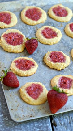 Grain Free Thumbprint Cookies with Strawberry Jam Ingredients Strawberry Jam 1 cup fresh, hulled strawberries 1 Tbsp. Paleo Desert Recipes, Raw Food Recipes, Snack Recipes, Dessert Recipes, Cooking Recipes, Paleo Food, Paleo Sweets, Paleo Dessert, Healthy Baking