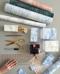 """""""Faux real guys, you should make faux marble vases with contact paper. Get the full how-to we did with @katherineschwarzenegger on her @instylemagazine…"""""""