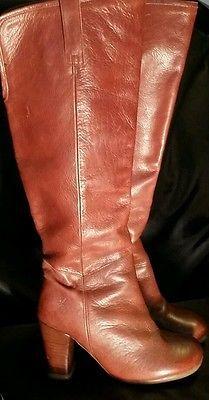 John Fluevog Hey Minstrel!  Brown Leather Knee Boots Size 6 Women