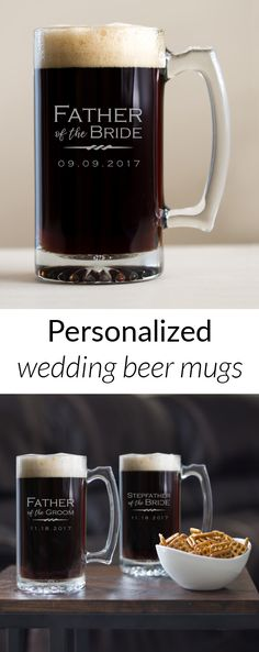 Shop and personalize now: Custom engraved Father of the Bride/Groom Beer Mugs make the perfect gift for Dad. Celebrate the big day in style!