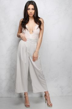 Grey Pleated Culotte Trousers