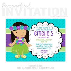 Luau Birthday Party Invitations Personalized Por PinkPickleParties Hawaiian Homemade