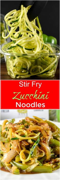 Stir Fry Zucchini Noodles, or zoodles, make a quick and easy low carb side dish that does not require a Spiralizer and is loaded with Asian-inspired flavor. via Flavor Mosaic (Paleo Dinner Stir Fry) Zoodle Recipes, Spiralizer Recipes, Vegetable Recipes, Vegetarian Recipes, Cooking Recipes, Healthy Recipes, Freezer Recipes, Freezer Cooking, Quick Recipes