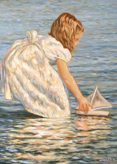 """""""Girl with a Boat"""" ~ Paintings by Mark Shasha"""