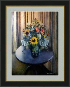 """""""Shadowed in Silk"""" ~ © 2016 RC deWinter ~ Sunlight filtered through silk-curtained windows illuminates this charming impressionist still life of a floral arrangement gracing an antique table. Shown here as a 22"""" x 30"""" framed and matted print, Somerset Velvet Paper, 2.5"""" Dawn Gray mat, Black GG1 frame, finished size 32.75"""" x 40.75"""". Available as wall art in a wide range of media, sizes and configurations, and also on home decor items, cards, accessories and more. Pinterest prices are…"""