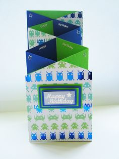 helencapstick.com #space invaders #greeting card #birthday #themed #green #royal blue