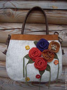 """Женские сумки ручной работы. Льняная сумка с кожей """" Несколько роз"""". Ветюгова Юлия. Интернет-магазин Ярмарка Мастеров."""
