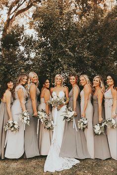 Mismatched Bridesmaid Dresses, Blue Bridesmaids, Wedding Bridesmaid Dresses, Dream Wedding Dresses, Bridesmaid Dress Colors, Affordable Bridesmaid Dresses, Bridesmaid Photos Ideas, Bridesmaids In Different Dresses, White Brides Maid Dresses