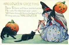 Pretty Deco Witch Vintage Halloween Images, Halloween Crafts, Happy Halloween, Crazy Cat Lady, Crazy Cats, Scary, Creepy, Halloween Greetings, Vintage Postcards