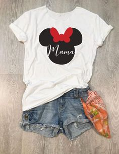 Disney Mama. Mama Minnie. Mama Mouse. Women's Disney Shirt. Women's Wide Neck Shirt. Women's T Shirt. Women's Relaxed Fit.