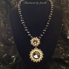Black Crystal Bead Collar Necklace With A Sparkling Diamante Pendant Handmade ON SALE