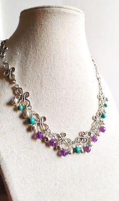 Silver Choker Necklace, Beaded Necklace, Earrings, Turquoise Pendant, Silver Flowers, Chokers, Bracelets, Etsy, Jewelry