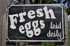 """Fresh Eggs Sign.  Make 2 (one hanging from each side of the mailbox) and a price per dozen sign hanging from each one, which can be pulled up and turned into a """"closed"""" sign for when out of eggs Mailbox Makeover, Eggs For Sale, Closed Signs, Chicken Signs, Fresh Chicken, Chalkboard Art, Hanging Signs, Crafty Projects, Wood Signs"""