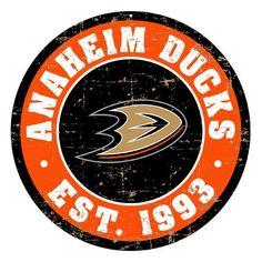 Nhl Logos, Anaheim Ducks, Round Logo, Retro Logos, National Hockey League, Vintage Walls, Wall Signs, Mustang, Graphic Art