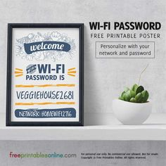 Viniflora Personalized Wifi Password Poster (Free Printables Online) More Wifi Password Printable, Home Nail Salon, Password Keeper, Free Poster Printables, My Bar, Free Wifi, Bluetooth Gadgets, Air Bnb, Daycare Ideas