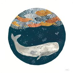 This is an original painting. Sperm whale and plankton below a school of fish. The whale and fish are painted in with watercolor and detailed
