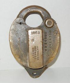 Antique Brass Working Lock Padlock Arabic In Script