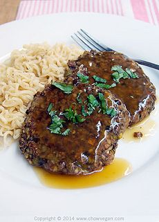 "Vegan Mushroom, Leek & Lentil ""Salisbury Steak"" Asian Style"