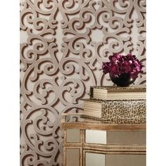 """York Wallcoverings Fortuna 27' x 27"""" Scroll 3D Embossed Roll Wallpaper Color: Beige, Pale Taupe, White"""