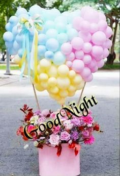 Good Night Images For Whatsapp Lovely Good Night, Good Night Love Images, Good Night Sweet Dreams, Good Night Image, Love Balloon, Balloon Gift, Balloon Flowers, Balloon Bouquet, Happy Birthday Flower