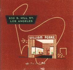 William Peake Haberdashery vintage matchbook ~ vintage Los Angeles