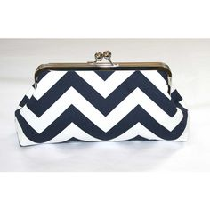 Chevron Bridesmaid Clutch Navy White Chevron Clutch Purse ($35) ❤ liked on Polyvore featuring bags, handbags, clutches, structured handbag, navy clutches, chevron purse, structured purse and chevron handbags