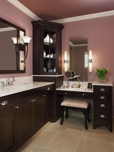 I want to remember to put a vanity in master bath! sit and do makeup and hair will be so much more comfy than standing!