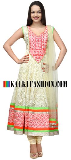Buy Online from the link below. We ship worldwide (Free Shipping over US$100)  http://www.kalkifashion.com/cream-floral-net-anarkali-suit.html