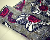 Red Black White Big Flowers and Leaves African Wax Print by the Yard 100% Cotton