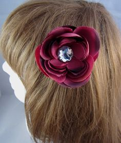 #Handmade Burgundy Flower and Jewel Hair Clip by ninjavspirategifts on Etsy, $8.00