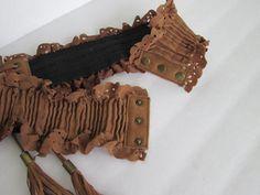 Bohemian Suede Belt / Vintage Woman Boho Hip Belt / by knitwit321