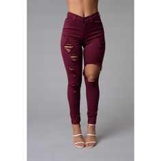 Glistening Jeans Burgundy ($15) ❤ liked on Polyvore featuring jeans, bottoms, pants and burgundy jeans