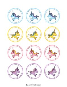 Unicorn cupcake toppers. Use the circles for cupcakes, party favor tags, and more. Free printable PDF download at http://cupcakeprintables.com/toppers/unicorn-cupcake-toppers/