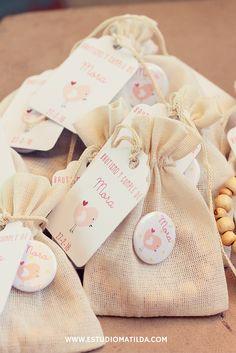 bolsa liencillo, pin, denario y tag #souvenirs #bautismos #denarios