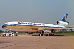 "British Caledonian Airways McDonnell Douglas DC-10-30 G-BHDI ""Robert the Bruce - The Scottish Warrior"" at Manchester-Ringway, July 1985. (Photo: Ken Fielding)"