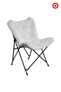 The classic butterfly chair is stylish, but also perfect for decorating small spaces. It easily folds up and the cover (sold separately) can be switched out to give a bedroom or living room a quick refresh.