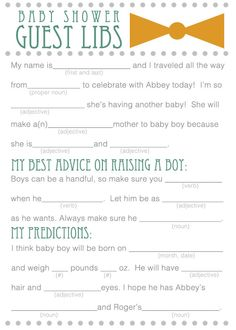 Baby Shower mad libs