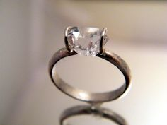 Herkimer Diamond Solitaire ring - simple engagement ring wedding ring or cocktail. $125.00, via Etsy.