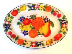 Large Vintage Colorful Enamel Metal Fruit Tray by retrowarehouse