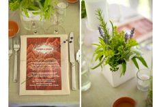 Faux Boix Menu, Greenery Centerpiece - Simply Blue Weddings | Jen Kroll Photography, A Day in May, Event Planning & Design, Flowers by Marla Courtney Wood