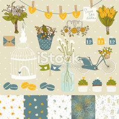 Bright set for wedding design. Royalty Free Stock Vector Art Illustration