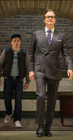 Colin Firth and Taron Egerton in Kingsman: The Secret Service Dapper Gentleman, Gentleman Style, Eggsy Kingsman, Kingsman Harry, Kingsman The Golden Circle, Classy Suits, Kings Man, Colin Firth, Sharp Dressed Man