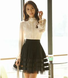 #StripedLace Styleonme - A-Line Striped Lace Skirt