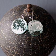 Laser Engraved Moon Earrings: Near and Far Side Big Moon, The Far Side, Moon Earrings, Pink Floyd, Laser Engraving, Blue Green, Christmas Bulbs, Crochet Earrings, Dangles