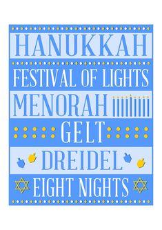 Free Hanukkah printable subway art